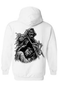 Men's/Unisex Zip-Up Hoodie OVERSIZED Biker Grim Reaper Skeleton WHITE (3XL)