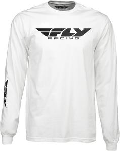 Fly Racing Corporate Long Sleeve Premium T-Shirt (White, X-Large)