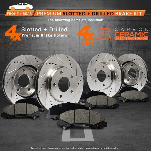 KT052933 Max Brakes Front /& Rear Performance Brake Kit Premium Slotted Drilled Rotors + Ceramic Pads Fits: 2007 07 2008 08 Jeep Patriot w// 262mm Rear Brake Rotors