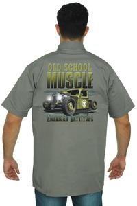 Men's Mechanic Work Shirt Old School Muscle American Rattitude GREY (5XL)
