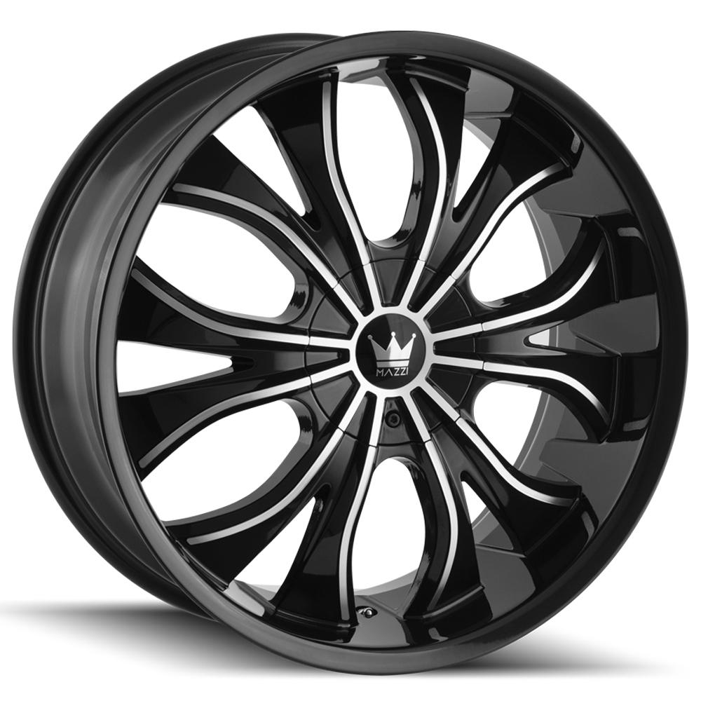 "4-Mazzi 342 Hustler 22x9.5 5x115/5x120 +18mm Black/Machined Wheels Rims 22"" Inch"