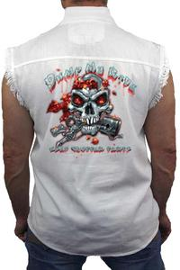 Men's Sleeveless Denim Shirt Dump My Ride Used Chopper Parts: WHITE (Medium)