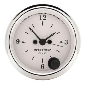 "AutoMeter 1686 Old Tyme White Clock 2 1/16"" Quartz Movement w/Second Hand"