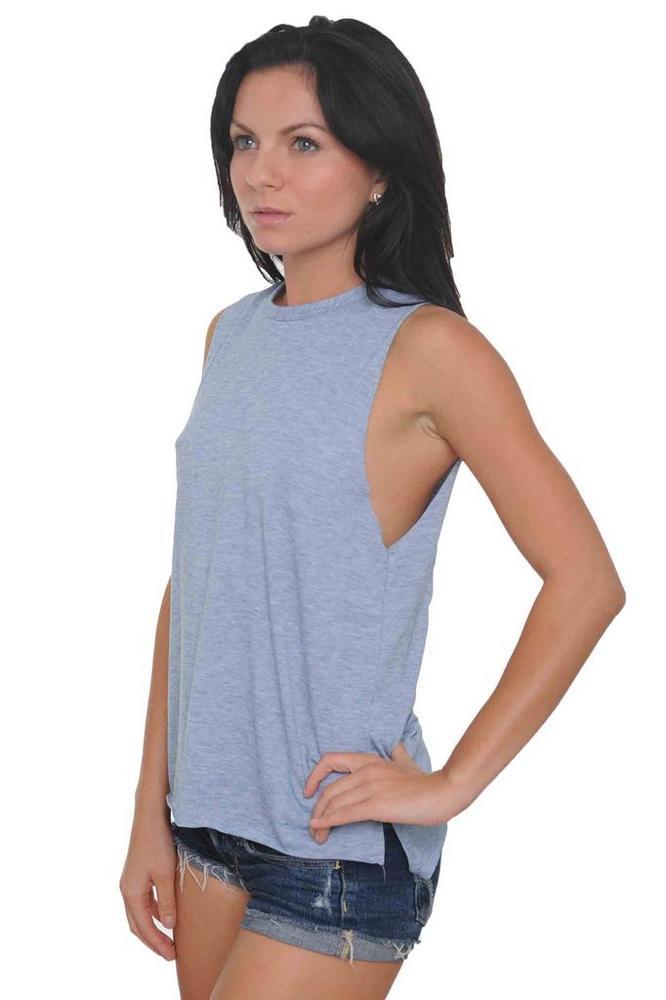Women's Heather Sleeveles Shirt Raw Edges: DENIM (Small)