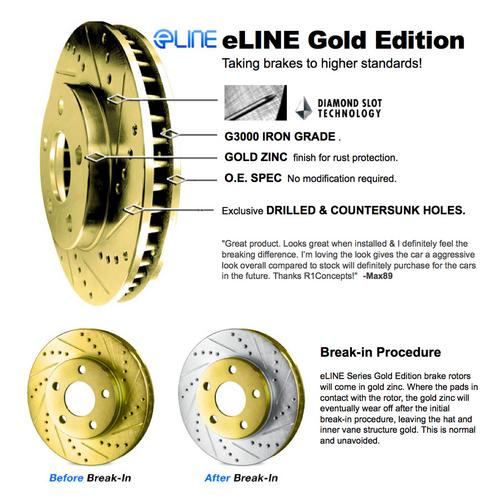 For 1988-1989 GMC C3500 Front eLine Gold Drill Slot Brake Rotors+Ceramic Pads