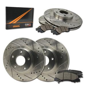 Max Brakes Front & Rear Performance Brake Kit [ Premium Slotted Drilled Rotors + Ceramic Pads ] KT080133 Fits: 2011 - 2016 Lexus CT200H