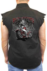 Men's Sleeveless Denim Shirt Bikes And B**ches: BLACK (4XL)