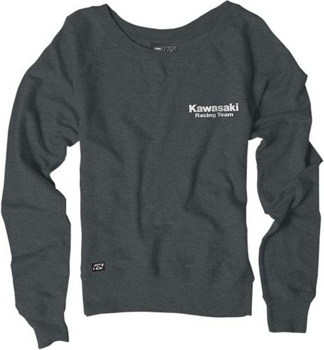 Factory Effex Licensed Kawasaki Crew Pullover Charcoal Women's Size S