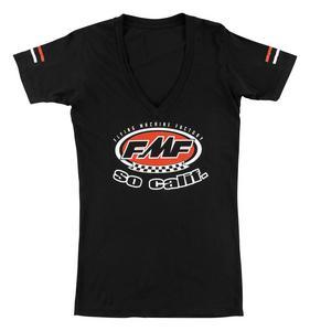 FMF Racing Retro Womens V-Neck T-Shirt (Black, Small)
