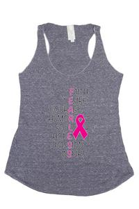 Women's FEARLESS Breast Cancer Awareness Tri Blend Tank: DENIM (LARGE)