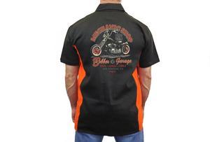 "Biker Mechanic Work Shirt ""Mechanic Shop Bobber Garage"" BLACK/ORANGE (Medium)"