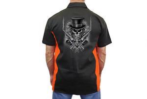 "Biker Mechanic Work Shirt ""Skeleton with Pistols/Guns"" BLACK/ORANGE (5X)"