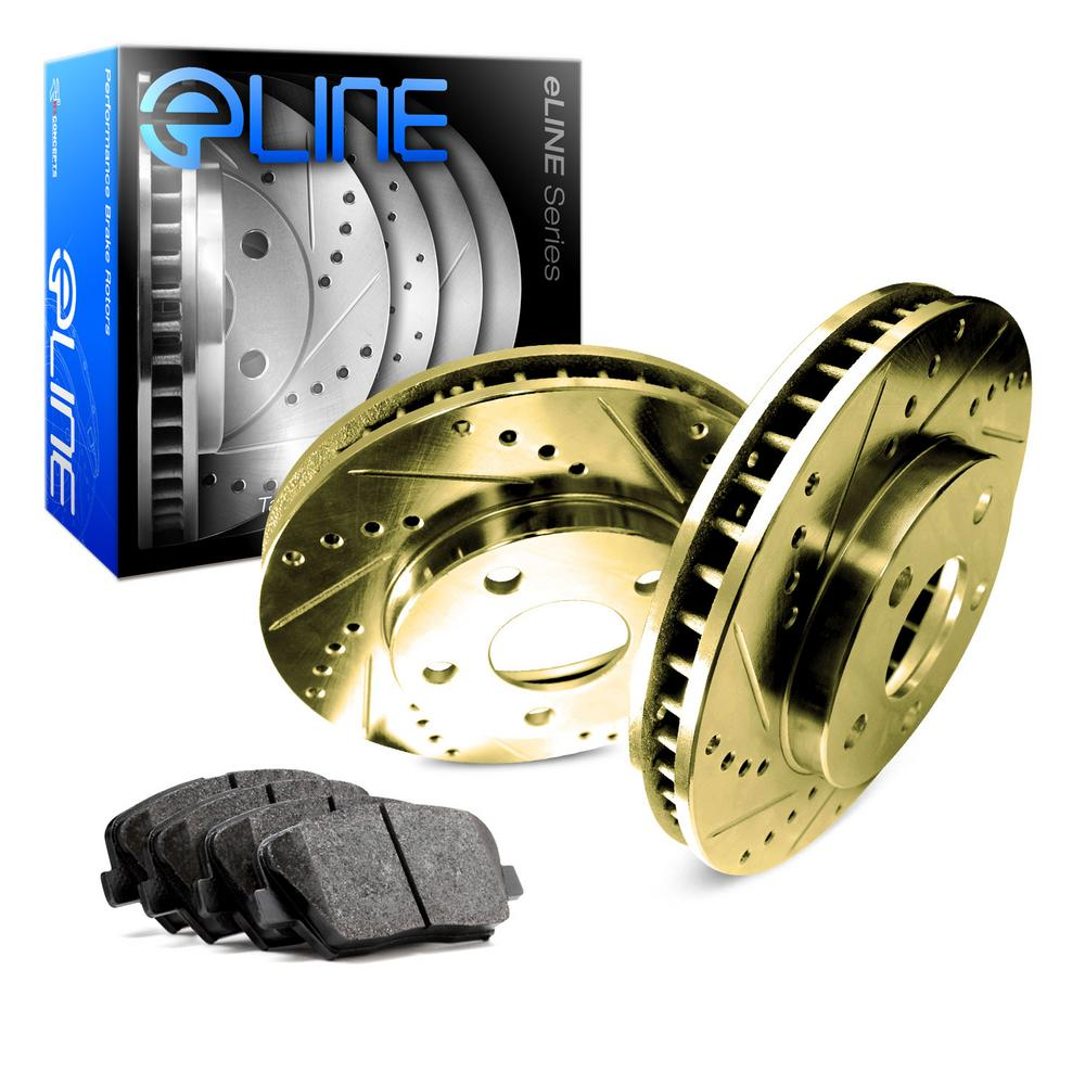 For 1988-1990 Volvo 740 Rear Gold Drill Slot Brake Rotors + Semi-Met Brake Pads