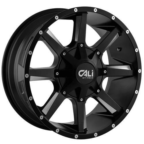 """4-Cali Off-Road 9100 Busted 22x12 8x180 -44mm Black/Milled Wheels Rims 22"""" Inch"""