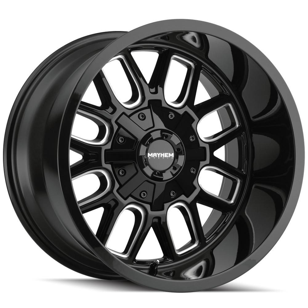 "4-Mayhem 8107 Cogent 20x9 8x6.5""/8x170 +18mm Black/Milled Wheels Rims 20"" Inch"