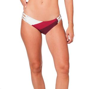 Fox Kingsport Lace Up Bikini Bottom Cranberry (Red, X-Small)