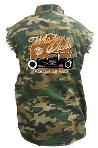 Men's Camo Sleeveless Denim Shirt Whiskey Dicks Automotive Parts Denim Vest: (6XL)