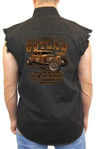 "Sleeveless Denim Shirt ""Outlaw Hotrod Garage"" (3X)"