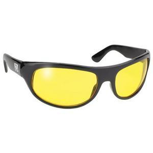 Pacific Coast Sunglasses The Wrap Sunglasses Black / Yellow Lens (Black, OSFM)