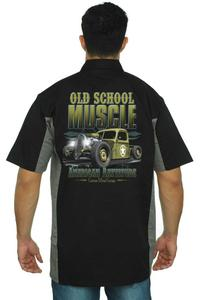 Men's Mechanic Work Shirt Old School Muscle American Rattitude BLACK/GREY (Large)