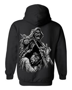 Men's/Unisex Zip-Up Hoodie OVERSIZED Biker Grim Reaper Skeleton BLACK (3XL)