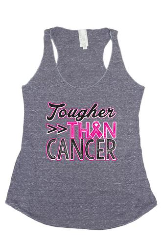 Women's Tougher Than Cancer Breast Cancer Awareness Tri Blend Tank: DENIM (LARGE)