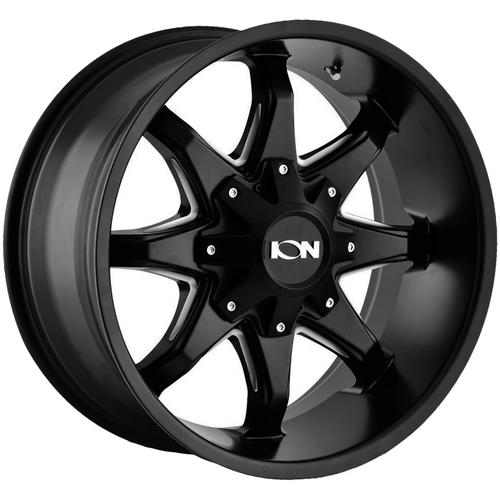 "Ion 181 18x9 8x6.5""/8x170 -12mm Black/Milled Wheel Rim 18"" Inch"