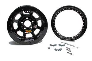 AERO RACE WHEELS 53-100540B 15X10 4in Wide 5 Black Beadlock