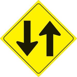 Voss 420 TW YR 12x12in. Reflective Trail Sign - Two Way Arrows (Yellow/Black)