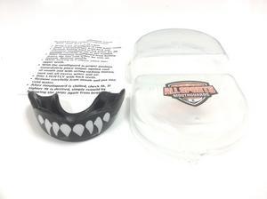 "All Sports Mouthguards White ""Razor Teeth"" Black Mouthguard SM/MD"