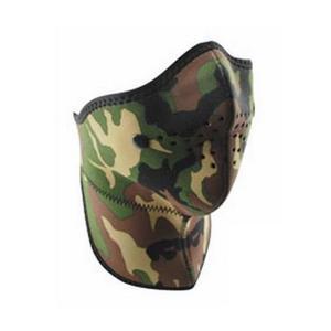 Zan Headgear Half Face Mask with Neck Shield Woodland Camo (Green, OSFM)