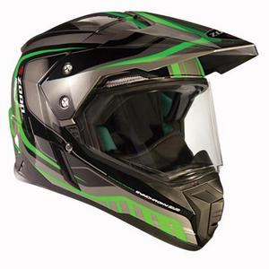 Zoan Synchrony Duo-Sport Tourer Graphics Helmet (Green, X-Small)
