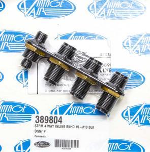 VINTAGE AIR Black Anodize Aluminum 2 Port Streamline Bulkhead Plate P/N 389804