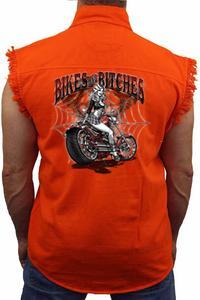 Men's Sleeveless Denim Shirt Bikes And B**ches: ORANGE (Medium)