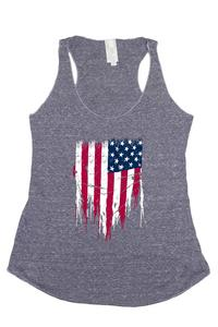 Women's Tri-Blend Tank Top Ripped USA Flag: DENIM (Large)