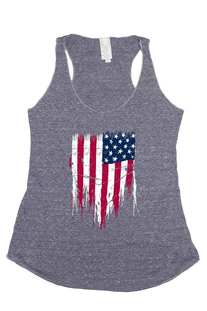 Women's Tri-Blend Tank Top Ripped USA Flag: DENIM (Small)