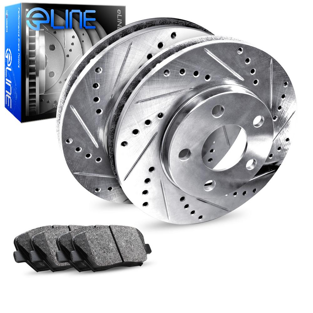 For 2000-2005 Cadillac DeVille Rear eLine Drill Slot Brake Rotors+SD Brake Pads