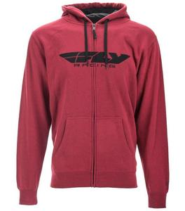 Fly Racing Corperate Zip-Up Hoody Burgandy/Heather (Red, Small)