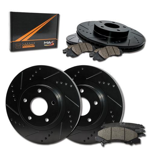 Fits: 2014 14 2015 15 Fits Hyundai Tucson AWD E-Coated Slotted Drilled Rotors + Ceramic Pads KT102483 Max Brakes Front /& Rear Elite Brake Kit