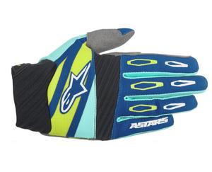 Alpinestars Techstar Factory Gloves Navy/Turquise/Lime (Blue, Large)