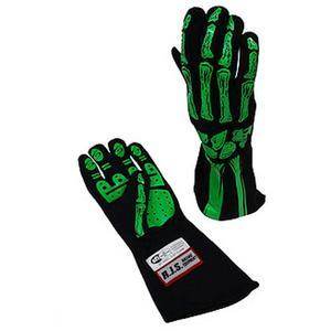 RJS SAFETY Black / Green 2X-Large 2 Layer Skeleton Driving Gloves P/N 600090160