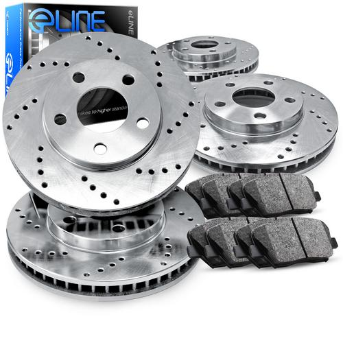 For 2000-2006 Mitsubishi Montero Front Rear Drilled Brake Rotors+Semi-Met Pads