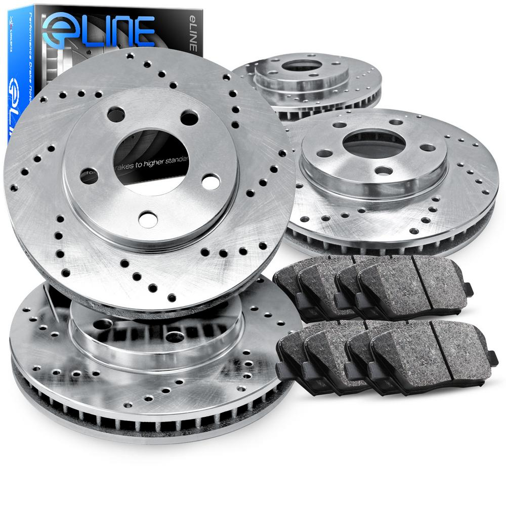 For Chevrolet, GMC Blazer, Jimmy Front Rear  Drilled Brake Rotors+Semi-Met Pads