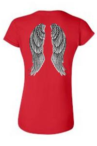 Women's Juniors Biker Angel Wings Red T-shirt (Small)
