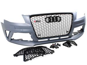 09-12 AUDI A4/S4 B8 RS4 STYLE FRONT BUMPER CONVERSION KIT W/ GLOSS BLACK GRILLES