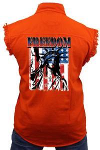 Men's Sleeveless Denim Shirt Freedom Statue of Liberty Biker Vest: ORANGE (6XL)