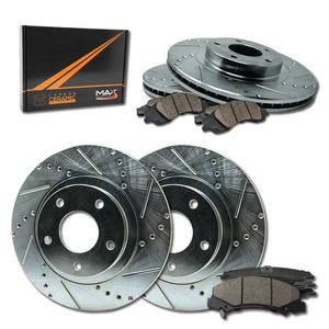 Max Brakes Front & Rear Performance Brake Kit [ Silver Zinc Slotted Drilled Rotors + Ceramic Pads ] KT083313 Fits: 1996 - 1998 Audi A4 Quattro