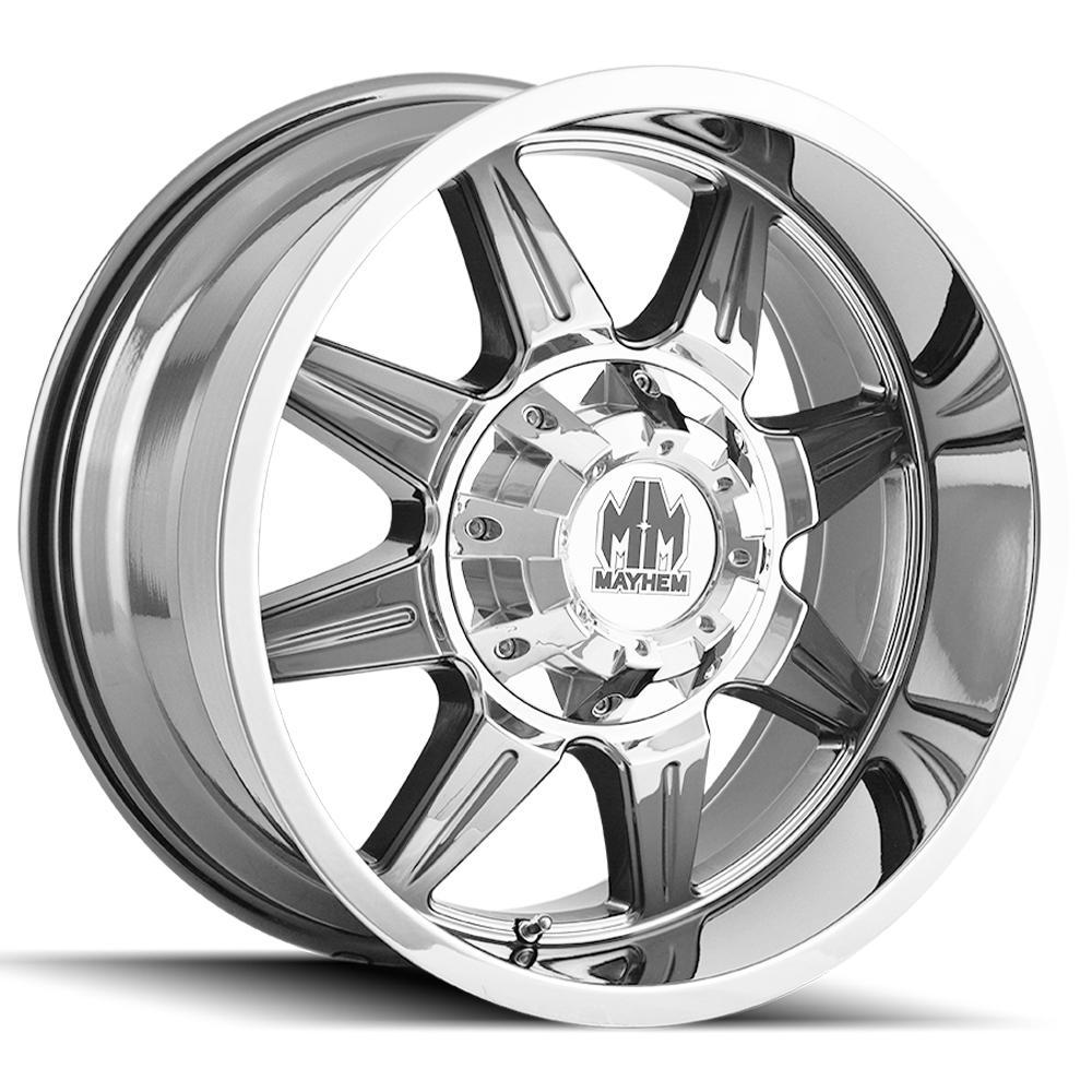 "4-Mayhem 8100 Monstir 20x10 5x5""/5x5.5"" -12mm Chrome Wheels Rims 20"" Inch"