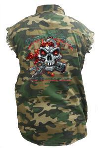Men's Camo Sleeveless Denim Shirt Dump My Ride, Used Chopper Parts Denim Vest: (4XL)