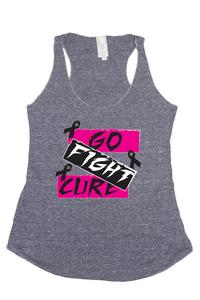 Women's Go Fight Cure Breast Cancer Awareness Tri Blend Tank: DENIM (MED)